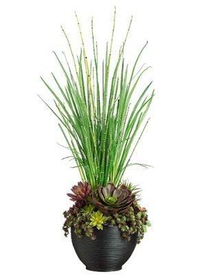 """41""""H x 15""""W x 15""""LEcheveria/Succulent/Yucca inBamboo Bowl Burgundy Green"""
