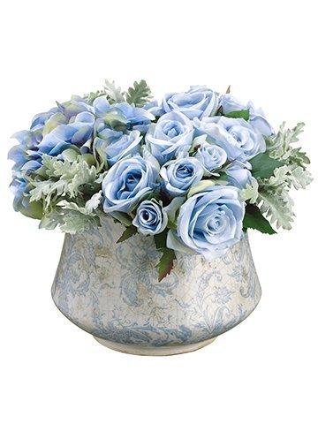"""10""""H x 11""""W x 12""""L Rose/DustyMiller/Hydrangea in TerraCotta Pot Blue"""