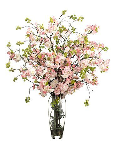 "35""H x 30""W x 30""L Cherry Blossom in Glass Vase Pink Green"