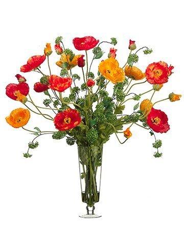 "37""H x 39""W x 39""L Large Poppy inGlass VaseOrange Red"