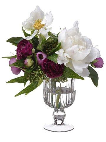 "10""H x 9""W x 12""LRanunculus/Peony in Glass VasePurple White"