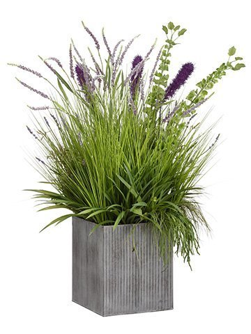 "48""H x 33""W x 39""L Willow Grass/Lavender/Bells of Ireland in Tin Planter Green P"