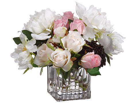 "10""H x 11""W x 11""LPeony/Rose/Sedum in Glass VaseWhite Pink"