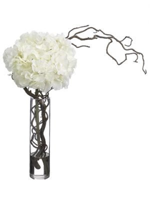 "21""H x 12""W x 17""L Hydrangea/ Curly Willow in Glass Vase White"