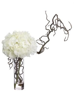 "18""H x 11""W x 16""L Hydrangea/ Curly Willow in Glass Vase White"