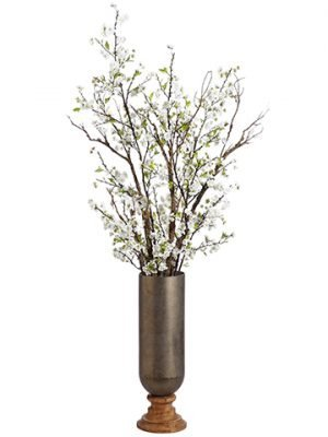 "76""H x 31""W x 32""L Cherry Blossom in Iron/Wood Planter White"