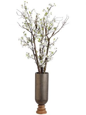 "66""H x 16""W x 20""L Cherry Blossom in Iron/Wood Planter White"