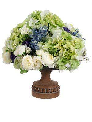 "15""H x 14""W x 14""L Hydrangea/Ranunculus/Statice/Lavenderin Footed Plate Green Lavender"