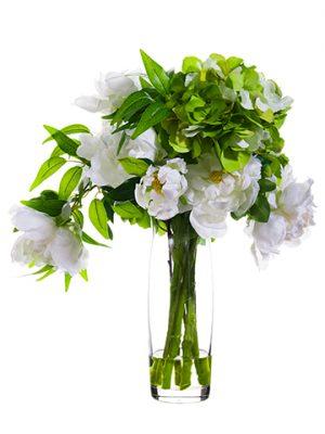 "19""H x 12""W x 14""LHydrangea/Peony in Glass VaseGreen White"