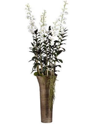 "73""H x 21""W x 21""L DendrobiumOrchid in Metal VaseCream"