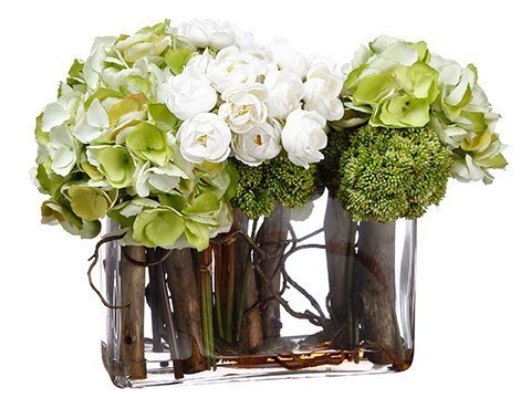 "12""H x 12""W x 17""L Hydrangea/Ranunculus/Curly Willow in Glass Vase Green Cre"