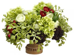 "14""H x 19""W x 22""L Hydrangea/Ranunculus/Sedum in Footed Plate Green Burgundy"