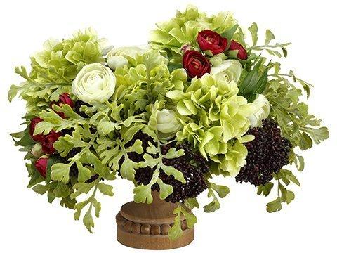 "14""H x 19""W x 22""LHydrangea/Ranunculus/Sedum inFooted Plate Green Burgundy"