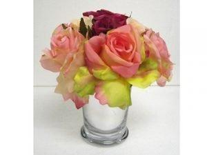 "7""H x 7""W x 7""L Confetti Rose inSilver Glass VaseFuchsia Pink"