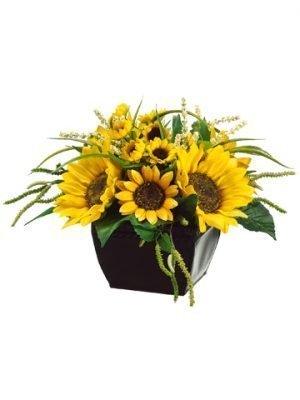 "9""H x 14""W x 14""L Sunflower/Amaranthus in Metal Container Yellow Green"