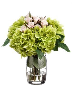 "13.5""H x 12""W x 12""L Hydrangea/ Rose in Glass Vase Pink Green"