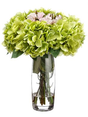 "15""H x 13""W x 13""L Hydrangea/Rose in Glass Vase Pink Green"