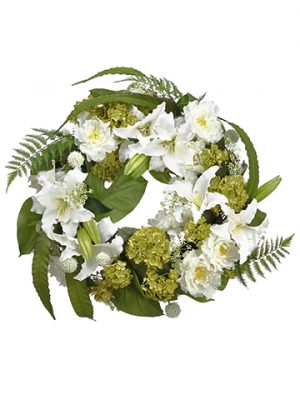 "30"" Casablanca Lily Peony/Fern Wreath White Green"