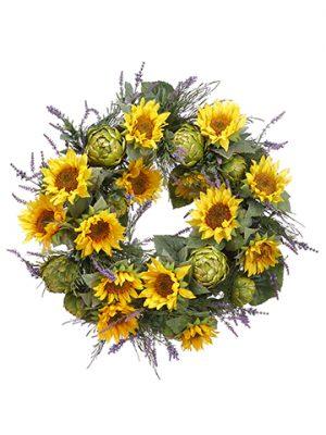 "30"" Sunflower/Artichoke/Lavender WreathYellow Green"