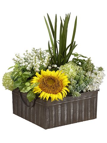 """18""""H x 15""""W x 16""""LSunflower/Succulent/Snowballin Tin Container Yellow"""