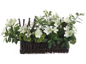 "14""x13""x24"" Azalea/Branch/Sedum in Glass Vase Cream Green"