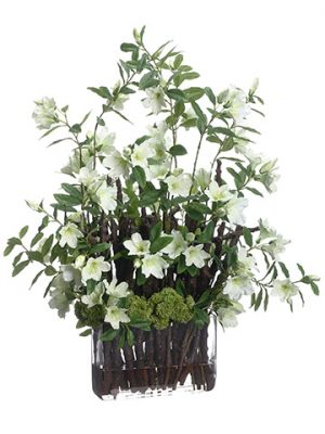 "32""x20""x23"" Azalea/Branches in Glass Vase Cream Green"