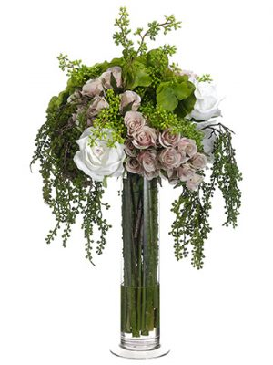 "23""x15""x18"" Hydrangea/Rose/Mixed Bouquet in Glass Vase Pink Green"