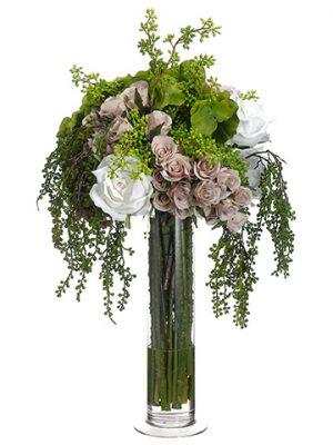 "23""x15""x18""Hydrangea/Rose/Mixed Bouquetin Glass Vase Pink Green"