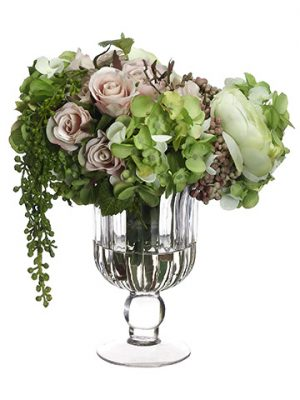 "10""H x 9""W x 10""L Mix Hydrangea/Rose In Glass Vase Green Pink"