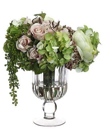 """10""""H x 9""""W x 10""""L MixHydrangea/Rose In Glass VaseGreen Pink"""
