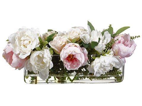"10""H x 14""W20""L Peony Rose MixIn Rectangular Glass VasePink"