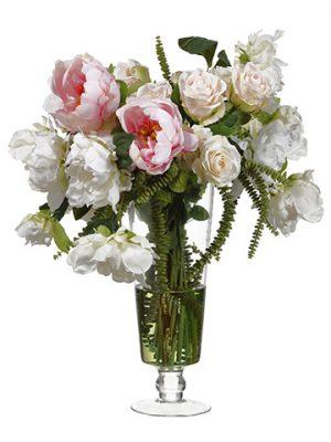 "27""H x 23""W x 21""L Peony Rose MixIn Glass VasePink"