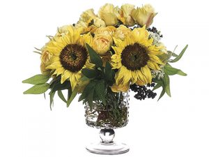 "15""Lx15""W x 16""L Rose/Sunflower In Glass Vase Yellow"