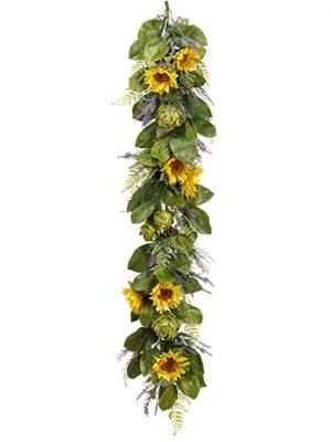 6' Sunflower/Artichoke/Lavender Garland Yellow