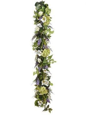 6' Hydrangea/Cosmos Garland White
