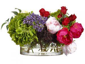 "14""H x 13""W x 22""L RoseHydrangea/Peony in Glass VaseGreen"