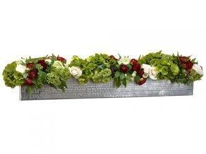 "9""H x 12""W x 41""L Rose/Ranunculus/Sedum in PlanterGreen"