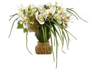 "16""H x 19""W x 24""L Cymbidium/Sedum in Vase with Gold Base White"