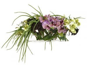"13""H x 21""W x 25""L Vanda Orchids in Glass Vase Purple"