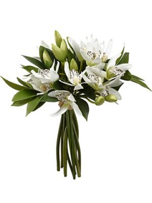 "13.5""H x 9""W x 12""L Cymbidium Bouquet White"