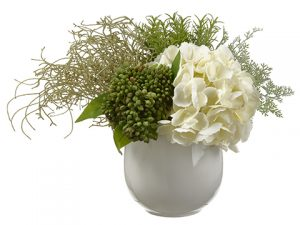 "12""H x 12""W x 17""L Hydrangea/Rosemary in Vase Cream"