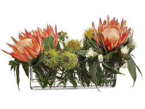 """13""""H x 15""""W x 24""""LProtea/Ecualyptus in GlassVase Orange"""