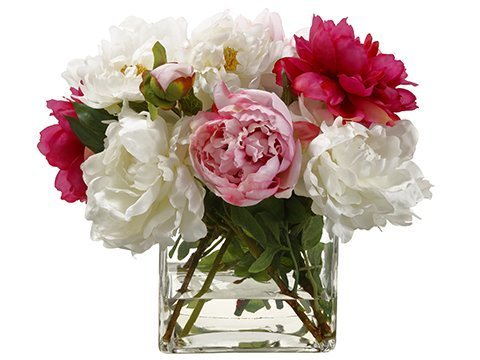 """14"""" Peony Mixed in Glass Vase Pink"""