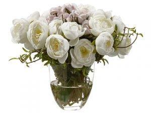 """8"""" Mini Rose in Glass Vase Cream"""