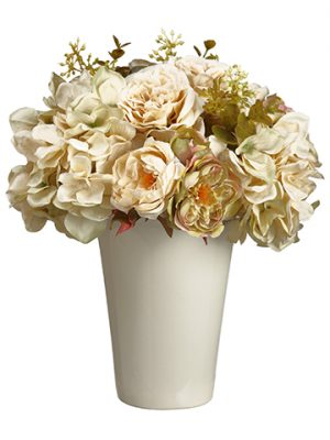 "11""H x 10""W x 10""L Rose Mixed Bouquet in Ceramic Pot Beige"