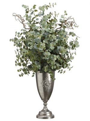"47""H x 29""W x 29""L Eucalyptus inTin UrnGreen"