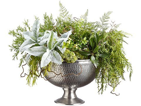 """21""""H x 28""""W x 28""""L Mix GreenGarden in Aluminum Footed BowlGreen"""