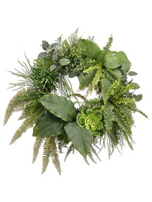 "30"" Fern/Grsss/Anthurium /Echeveria Wreath Green"