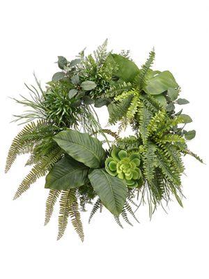 """30"""" Fern/Grsss/Anthurium/Echeveria WreathGreen"""
