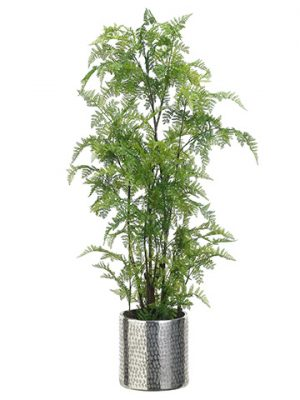 "48""H x 23""W x 28""L Leather Fern In Aluminum Planter Green"